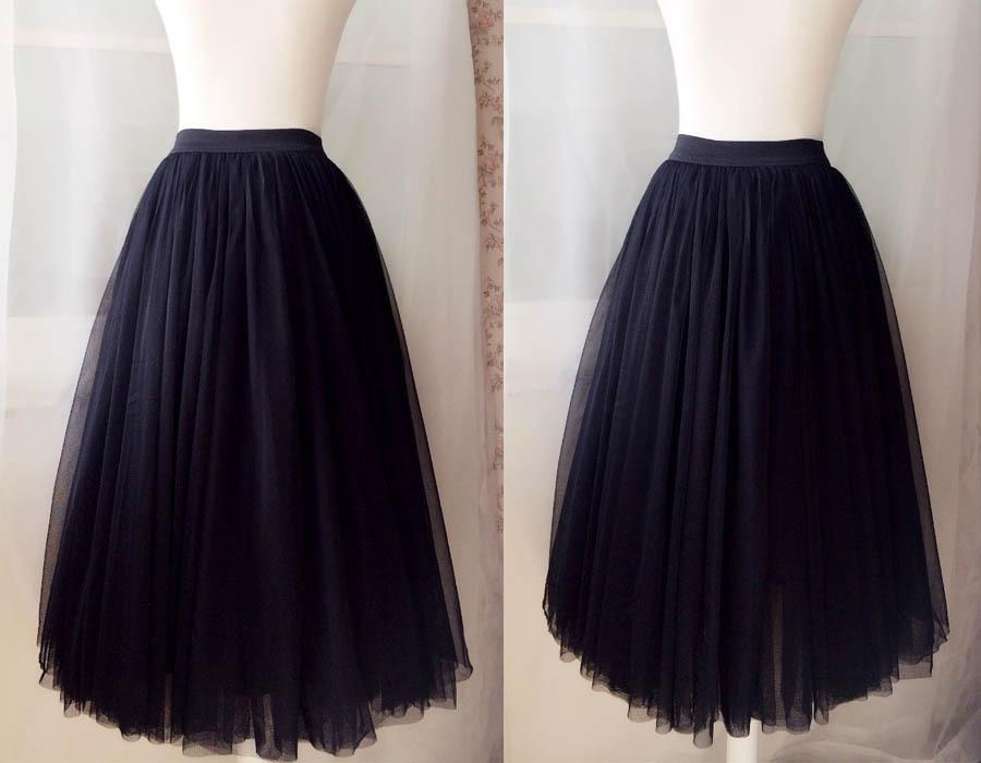 "BLACK MIDI TULLE SKIRTS High Waisted Black Full Tutu Skirts -27.5""long, 24""-29""W"