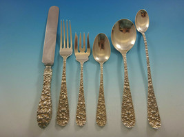 Rose by Stieff Sterling Silver Flatware Set For 8  Service 53 Pieces Repousse - $2,790.00
