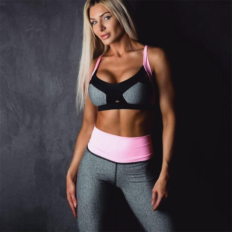 En patchwork fitted yoga sports suit gym jumpsuit yoga costume crop top long pant color blocking