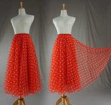 Polka Dot Tulle Midi Skirt High Waisted A-line Tulle Tutu Skirt Blue Dotted image 9