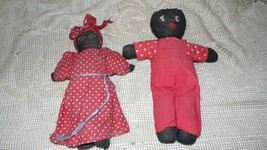 ANTIQUE VINTAGE HANDMADE BLACK AMERICANA STUFFED BOY/GIRL DOLL SET - $9.89
