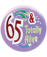 Beistle 6-Pack 65 and Totally Alive Satin Button, 2-Inch - $8.70