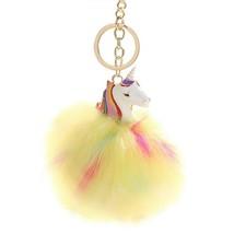 HXINFU Cute Pom Pom Fur Ball Unicorn Keychain Colorful Soft Fluffy Ball ... - $15.19