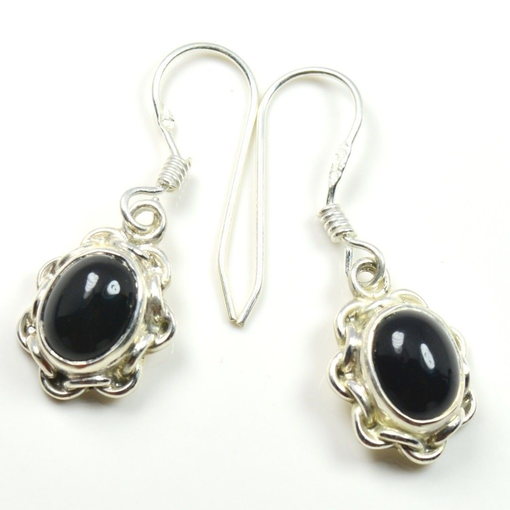 Natural Genuine Black Onyx Oval Shape Sterling Silver Earring  UEFO2-224