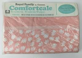 Vtg Royal Family Cannon Percale Twin Flat Sheet Oscar de la Renta Pink W... - $24.75