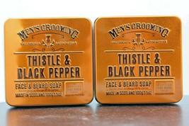 2 Pack! Scottish Fine Soaps Men's Thistle & Black Pepper Face & Beard So... - $18.55