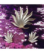 Hobe Vintage Palm Leaf Brooch Clip On Earrings Set Silver Tone - $79.19