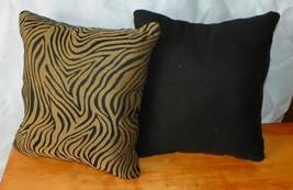 Pair of Gold Black Animal Print Throw Pillows  10 x 10 - $29.95