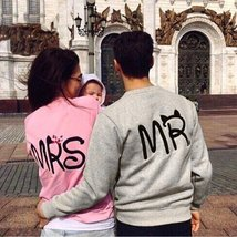 New Autumn 2015 Fashion Casual Long Sleeve Mr Mrs Letter Print Pullover Hoodies