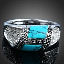 2018 New Personalized Jewelry Vintage Antique Silver Turquoises Ring Set... - $11.66