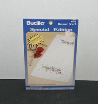 Bucilla Stamped Cross Stitch Dresser Scarf Dogwood Blossoms NEW - $14.83