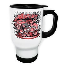 Bowling Cartoon Funny Game White/Steel Travel 14oz Mug y443t - $17.79
