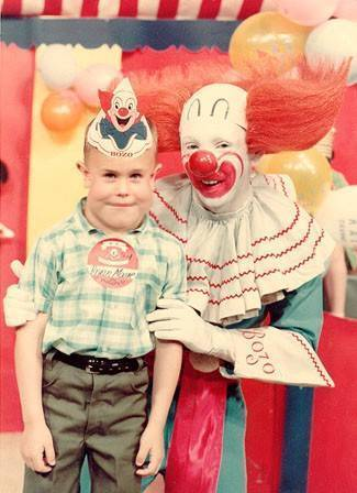 Bozo the Clown with child Saturday morning 60's tv  4 x 6 new reprint Awesome!