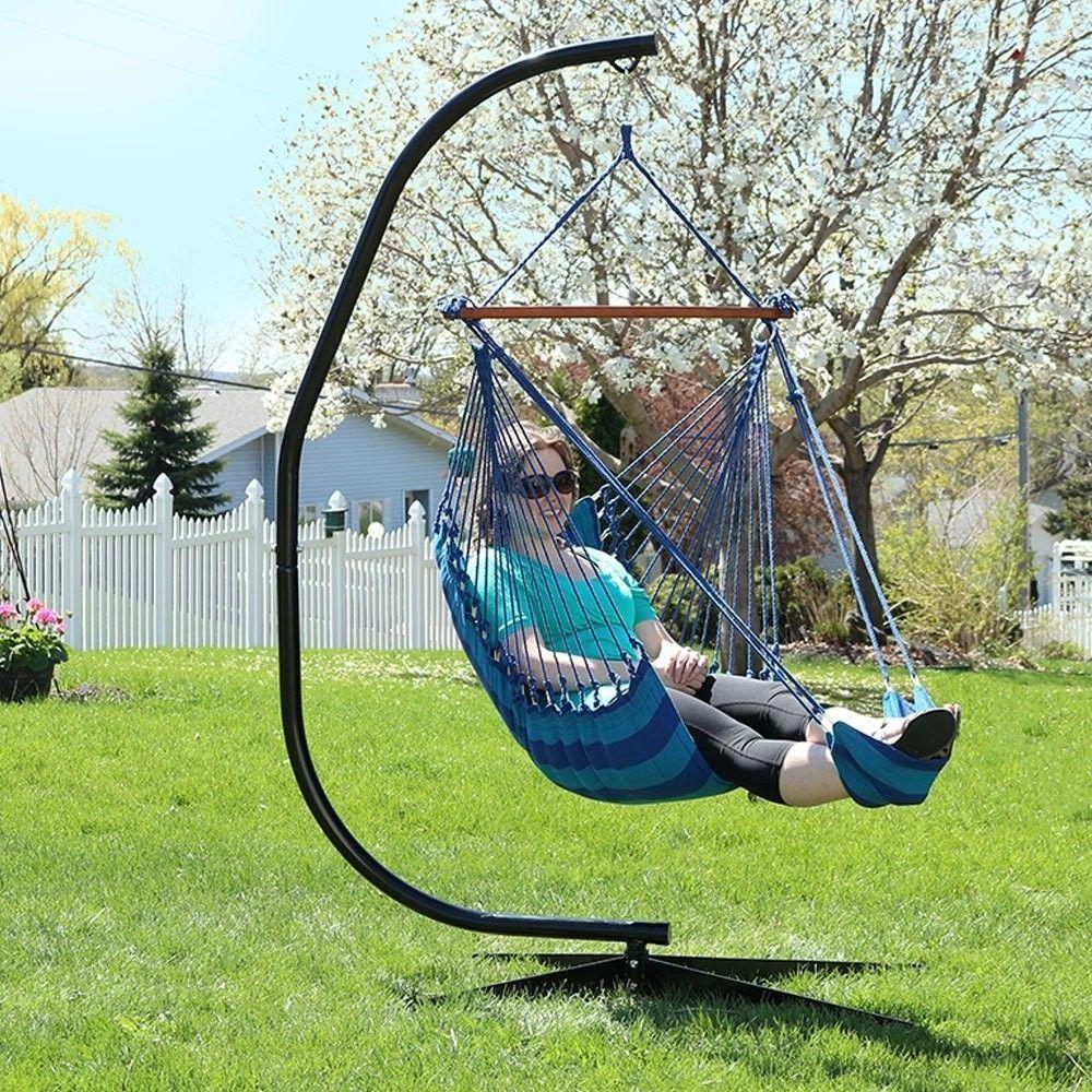 Outdoor Hanging Chair Garden Patio Blue Hammock W/ Padded Cushion Swinging Seats