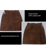 Global Identity Brown Genuine Suede Leather Skirt NWT Sz 13/14 - $18.99