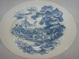 "ANTIQUE WEDGWOOD COUNTRYSIDE BLUE TRANSFERWARE 12"" OVAL SERVING PLATTER ... - $28.04"