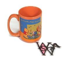 DISNEY Winnie The Pooh Orange BEE FRIENDLY HAPPY BEING ME Coffee Mug Tea... - £17.77 GBP