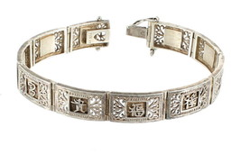 "VINTAGE STERLING CHINESE WORDS LINK THICK BRACELET 7.25"" PRETTY! - $143.99"