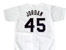 Michael Jordan #45 Birmingham Barons Button down Baseball Jersey White Any Size image 2