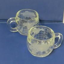 Nestlé World Globe Atlas Frosted Etched Glass Coffee Cup Mug Set of 2 Ne... - $30.63
