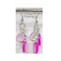Pink Oval MOP Shell Crystal Silver Dangle Earrings - $12.99