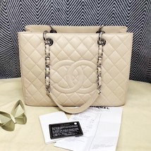 AUTHENTIC CHANEL QUILTED CAVIAR GST GRAND SHOPPING TOTE BAG BEIGE SHW RECEIPT  image 7