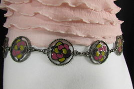 Damen Zinn Metall Bling Gürtel Gelb Rosa Blume Anhänger Hüfte Taille S M L image 7