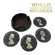 4pc Victorian Gothic Drink Coasters Set Skeleton Count Vladimir Lady Mor... - $19.75