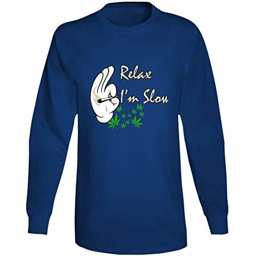 Tremendous Designs Relax I'm Slow 420 Canna Long Sleeve T Shirt 2XL Royal Blue