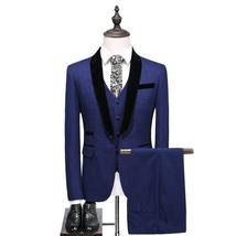 Men Wedding Suit Shawl Collar 3 Piece  Blue Tuxedo Jacket Pants Vest Sli... - $133.94+