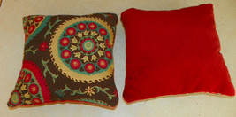 Pair of Red Brown Flower Abstract Print Throw Pillows  10 x 10 - $29.95