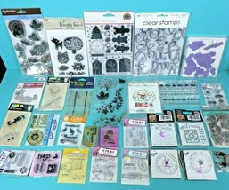 Rubber Cling Mixed Stamp Lot Clear Holiday Christmas Craft Martha Stewart Unused - $48.95