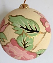 Vintage Large Foam Ball Christmas Tree Ornament with Hand-Painted Flowers  - $14.84