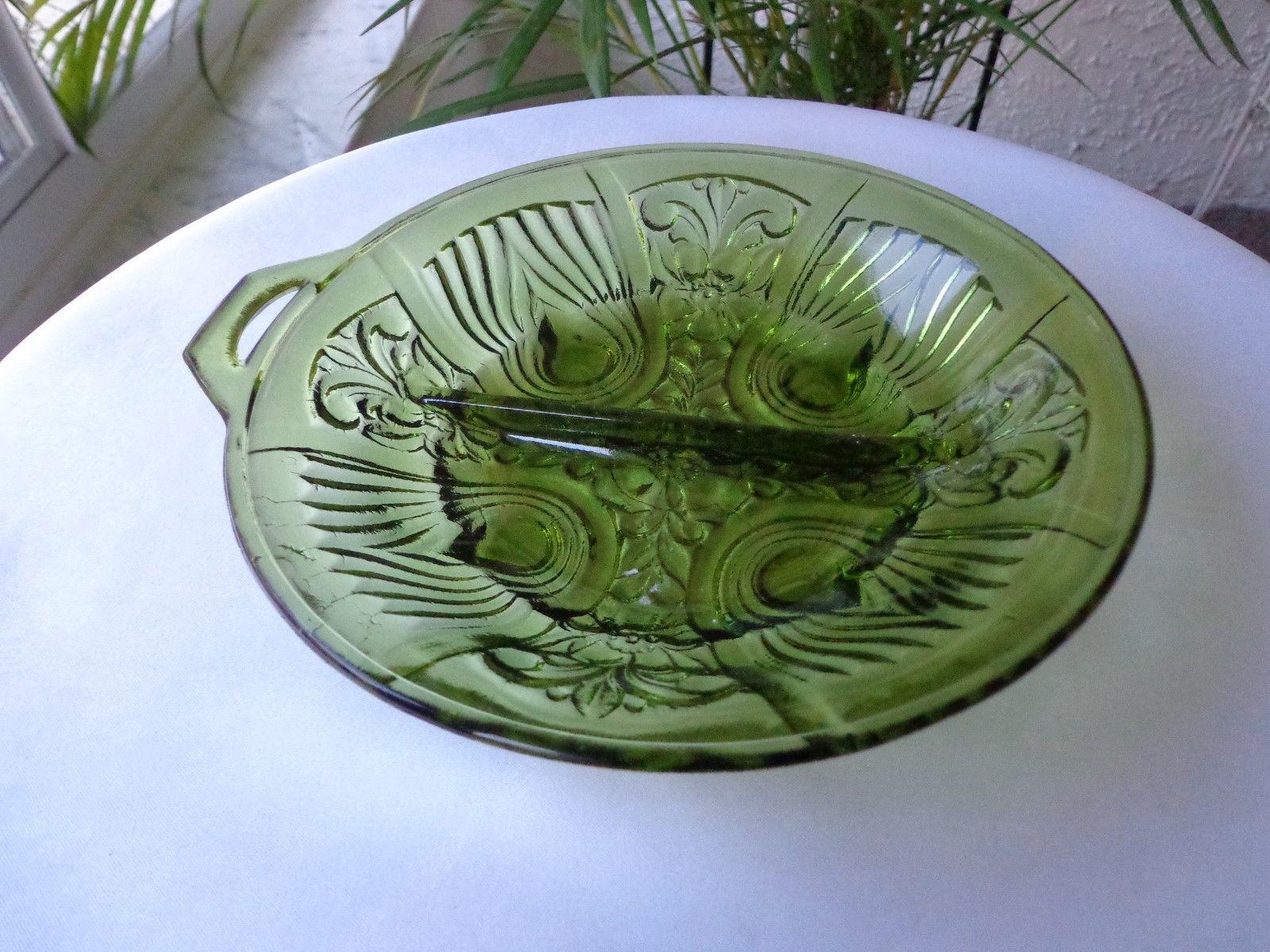 Indiana Glass Killarney Green 2 Part Relish Dish