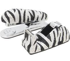 Zebra Crystal Stapler & Tape Dispenser Silver Metal Desk Accessory Set - €137,32 EUR