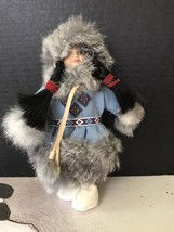 Vintage Indian Princess Doll. Leather Ties And Braid Bands. Real Fur. Gr... - $21.78