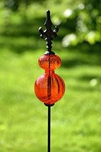 Zaer Ltd. Colored Blown Glass Garden Stake with Cast Iron Finial on Top ... - $49.95