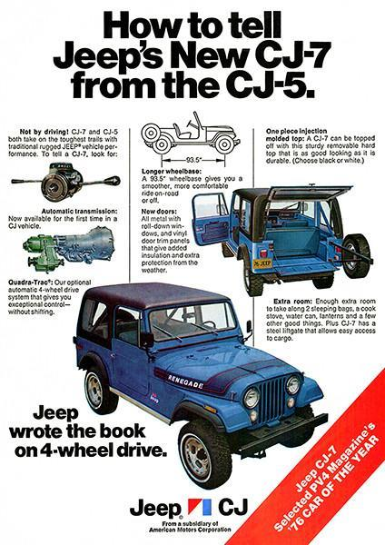 Primary image for 1976 New Jeep CJ-7 vs CJ-5 - Promotional Advertising Poster