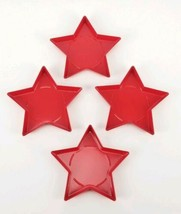 """(Lot of 4) IKEA Vinterfest Candle Dish Star Red 6"""" New  - $17.81"""