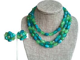 50s Vintage W. Germany Signed Aqua Green Teal Beaded Multi Strand Neckla... - $33.00