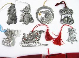 AVON Pewter Ornament Set Santa's Sleigh 1993 2002 Angel Father Xmas 7 Lo... - $44.50