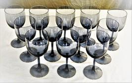 Vintage 12 Wine Glasses - Smoky Blue Glass - Sasaki Japan - Handcrafted ... - $112.10