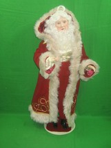 Vintage Mrs Santa Clause Christmas Statue Figurine in Red Robe on Stand  - $28.01