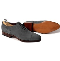 Handmade Men's Grey Two Tone Suede Oxford Shoes image 1