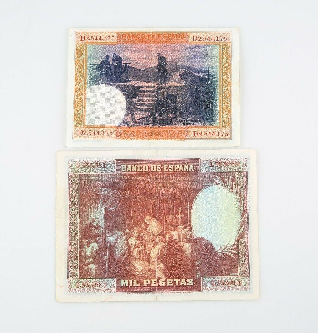 1925-1928 España 100 1000 Pesetas Notas Lote MB Banco de España Muy Fino 69c 78a