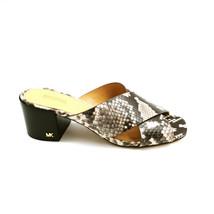 Michael Kors Womans Heeled Slide Sandal Black & White Leather Cushioned  Sz 6 M - $59.39