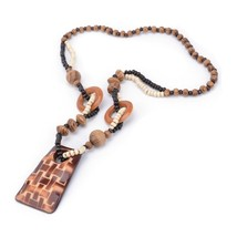 Vintage Natural Square Wood Hand carved Ancient Texture Sweater Necklace... - $9.48