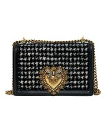 Dolce&Gabbana New Houndstooth Devotion Black/White Tweed & Leather Cross... - $1,762.04