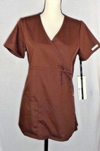 Womens Cherokee Scrubs Flexibles V Neck Scrub Top S Small Brown NWT - $25.00
