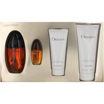 Calvin Klein Obsession 3.4 oz EDP Spray + 6.7 oz Lotion + .5 oz EDP + 3.4 oz SG image 1